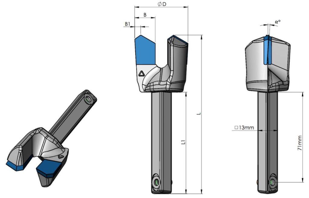Datenblatt Drehbohrschneiden mit Vierkantangel - lang