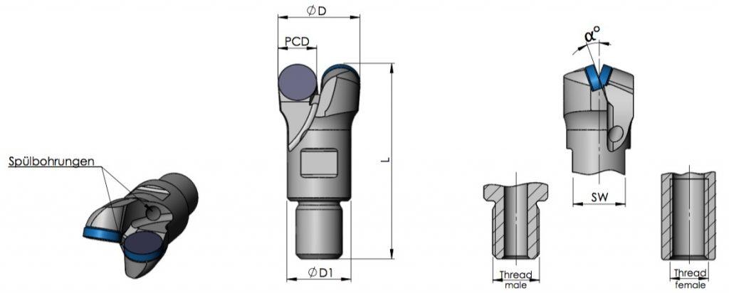 Datenblatt PCD-Drehbohrkronen 2-flügelig