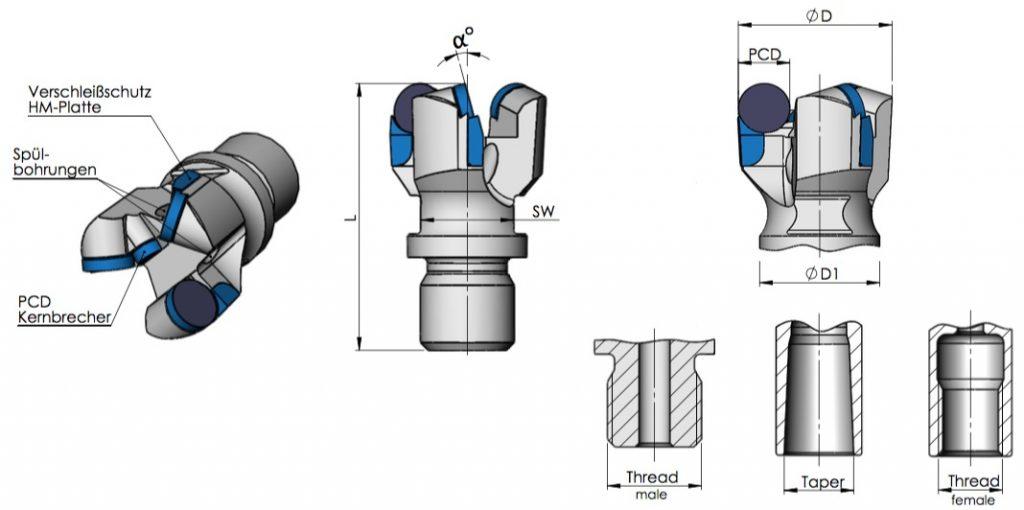 Datenblatt PCD-Drehbohrkronen 3-flügelig